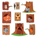 Djur i animalistic tecken för ihålig vektor i träd urholkad hålillustrationuppsättning av fåglar uggla eller fågel på treetops royaltyfri illustrationer