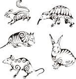 Djur i stam- stil vektor illustrationer