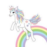 Djur illustration med den gulliga enhörningen på regnbågebakgrund Royaltyfri Bild