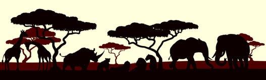 Djur konturafrikan Safari Landscape Scene stock illustrationer