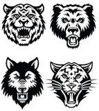 Djur maskotvektor Logo Set Arkivbild