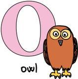 djur o owl för alfabet Arkivbilder