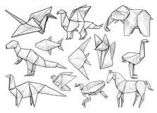Djur origamisamling, illustration, teckning, gravyr, färgpulver, linje konst, vektor stock illustrationer