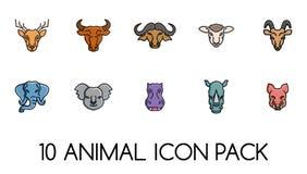 Djur packe för framsidasymbolslogoer stock illustrationer