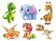 djur rolig set vektor för symbol 3d vektor illustrationer