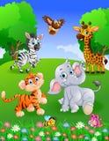 Djur safari för samling i trädgården royaltyfri illustrationer