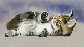 Djur samling för vattenfärg: Katt Arkivfoto