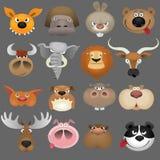 djur set för tecknad filmhuvudsymbol Arkivbild