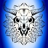 Djur skalle med horn Royaltyfri Bild
