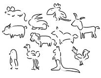 djur skissar vektorn Arkivfoto