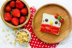Djur smörgås, söt smörgås för kattframsida med jordgubbar arkivbilder