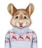 Djur som en människa Stående av musen i tröja stock illustrationer