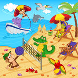 Djur som vilar på stranden stock illustrationer