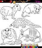 Djur ställde in tecknad filmfärgläggningboken royaltyfri illustrationer
