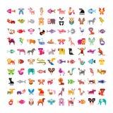 Djur symbolsuppsättning royaltyfri illustrationer