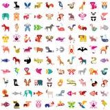 Djur symbolsuppsättning stock illustrationer
