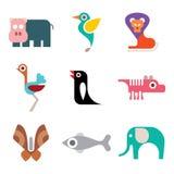 Djur symbolsuppsättning för zoo vektor illustrationer