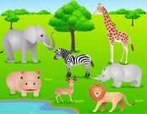 djur tecknad filmsafari Arkivbild