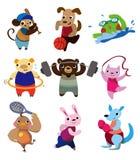 djur tecknad filmsport Arkivbild