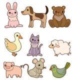djur tecknad filmsymbolsset Royaltyfri Bild
