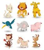 djur tecknad filmsymbolsset Arkivbilder