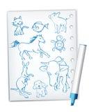 djur teckningshandskriftstil stock illustrationer