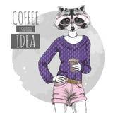 Djur tvättbjörn för Retro Hipstermode med kaffe Kvinnamodell Arkivbild