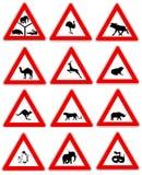djur undertecknar trafikvarning royaltyfri illustrationer