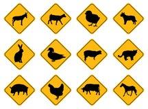 djur undertecknar varning Royaltyfria Bilder