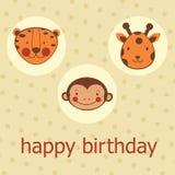 Djur vänder mot det lyckliga födelsedagkortet Royaltyfria Bilder