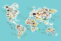 Djur världskarta för tecknad film för barn och ungar, djur från över hela världen, vita kontinenter och öar på blått Royaltyfria Bilder