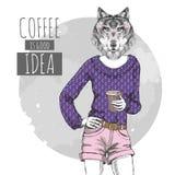 Djur varg för Retro Hipstermode med kaffe Kvinnamodell Arkivfoton