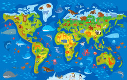 Djur värld roligt tecknad filmtecken Royaltyfri Bild