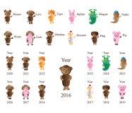 Djur zodiakårsuppsättning stock illustrationer