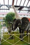 Djur zoo med välfyllda djur turnerar på i Italien Arkivbilder