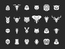24 djura head symboler Geometrisk illustrationsamling för unik vektor som föreställer några av de mest berömda lösa livdjuren stock illustrationer