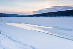Djura spår i vintersnön Arkivbilder