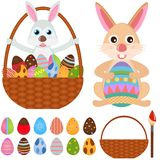 djura symboler för det kanineaster ägget oavbrutet tjata vektorn Royaltyfri Foto