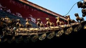Djura symboler på att snida för Forbidden City tak Royaltyfri Fotografi