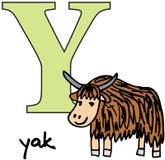 djura y yak för alfabet Arkivfoto
