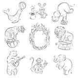 djurcirkus royaltyfri illustrationer