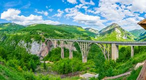 The Djurdjevic Bridge crosses the canyon of the Tara River. In the north of Montenegro Royalty Free Stock Photos