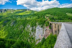 The Djurdjevic Bridge crosses the canyon of the Tara River. In the north of Montenegro Royalty Free Stock Image