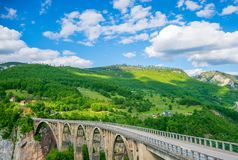 The Djurdjevic Bridge crosses the canyon of the Tara River. In the north of Montenegro Stock Photos
