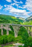The Djurdjevic Bridge crosses the canyon of the Tara River. In the north of Montenegro Stock Photo