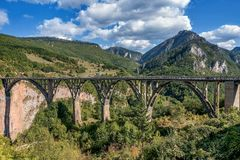 Djurdjevica Tara bridge over the river Tara, Montenegro.  Stock Photo