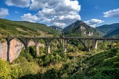 Djurdjevica Tara bridge over the river Tara, Montenegro.  Royalty Free Stock Image