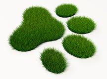 Djurfotspår för grönt gräs vektor illustrationer