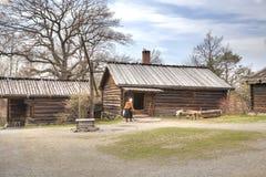 Djurgarden,斯德哥尔摩海岛  Skansen博物馆 住宅ho 库存照片