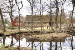 Djurgarden,斯德哥尔摩海岛  Skansen博物馆 住宅ho 免版税库存照片